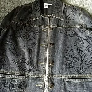 Coldwater Creek beaded embroidered denim jacket
